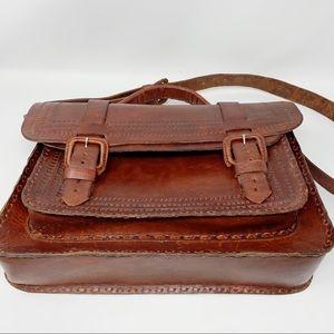 VTG Hand Tooled Leather Messenger Briefcase